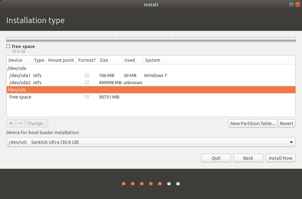 select correct drive, Ubuntu